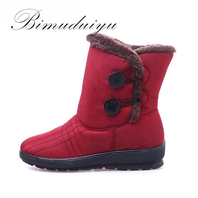 Bimuduiyu marca invierno caliente antideslizante impermeable mujer botas madre zapatos casuales botas de nieve plana de moda más el tamaño de las mujeres botas de