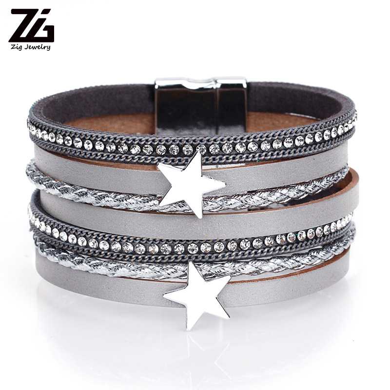 ZG 5 Colors Star Leather Charms Bracelets For Women Multiple Layers Magnetic Wrap New Fashion Jewelry