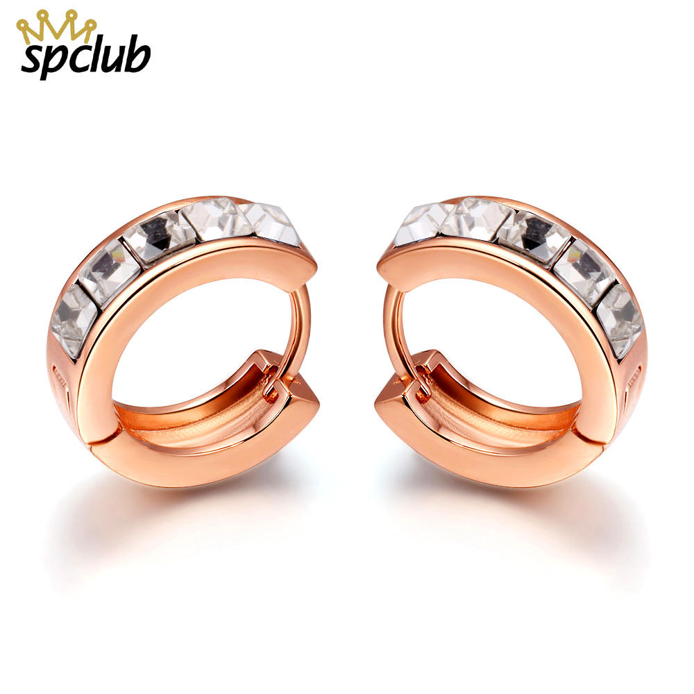 New Arrival Crystals From Swarovski Small Hoop Earrings Ladies Fashion Round Gold Earings For Wedding Party Women Accessories золотые серьги по уху