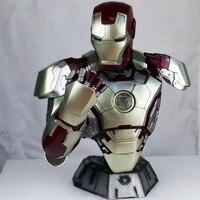 Высота 42 см статуя Мстители Железный человек бюст MK42 полупальто фото или портрет освещения (в натуральную величину) 1:2 большая статуя груди