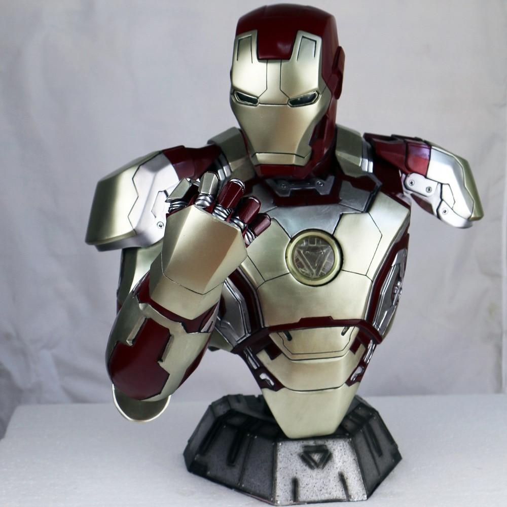 H 42cm Statue Avengers Avengers Iron Man Bust MK42 Half length Photo Or Portrait Lighting (LIFE SIZE) 1:2 BIG Statue Chest WU558