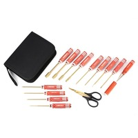 14 in 1 Hex Straight Screwdriver Sleeve Plier Puncher Hexagon Metal Tool Kit Bag for RC Helicopter Car Airplane Model