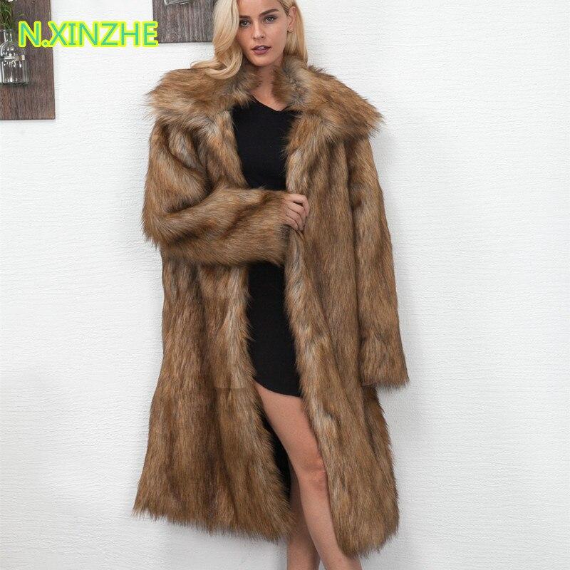 Fourrure 3 Manteaux Femmes Veste Épais 4 Fausse Manteau 1 Longues Des Femelle Manches En Vêtements Mode D'hiver Long High 2017 De Revers À Chaud Street Imitation 2 zSvBBq