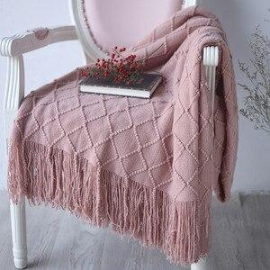 Image 5 - Новое теплое Скандинавское вязаное одеяло, покрывало на кровать, диван, плед, для путешествий, ТВ, одеяло, мягкое полотенце, кровать, плед, гобелен