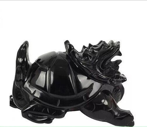Kaiguang naturel véritable produits obsidienne dragon tortue ameublement maison bureau feng shui mascottes zhaocai maison de ville pour conjurer