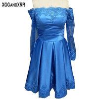 Hot Sale Blue Satin A Line Homecoming Dresses 2018 Pleat Long Sleeves Appliques Zipper Back Short Graduation Dresses