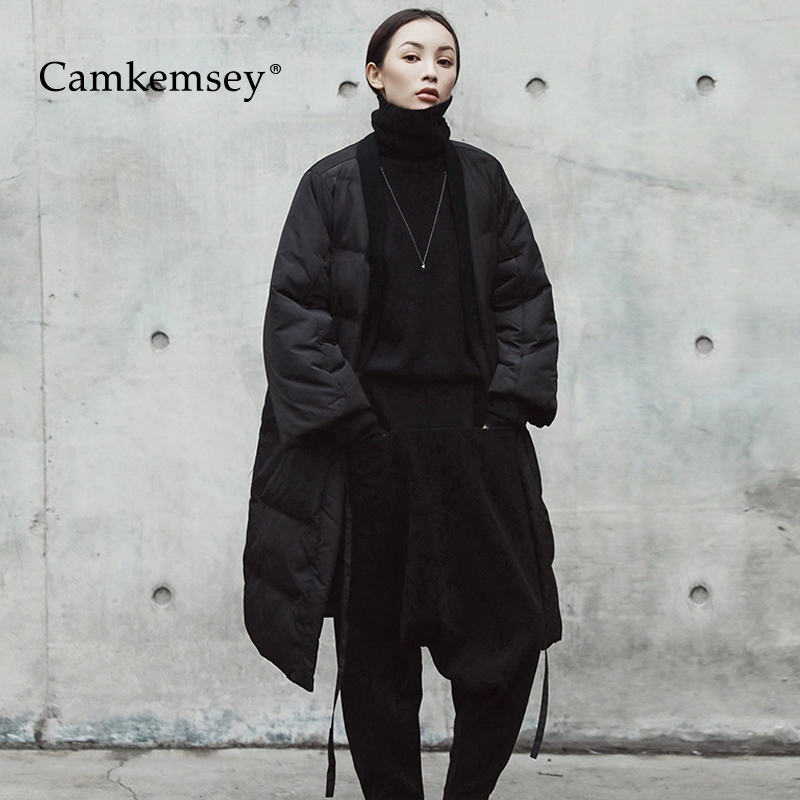 CamKemsey Warm Winter   Parkas   Women 2018 New Autumn Deep V-Neck Black Big Size Down Cotton Padded Winter Jacket Fashion Tide