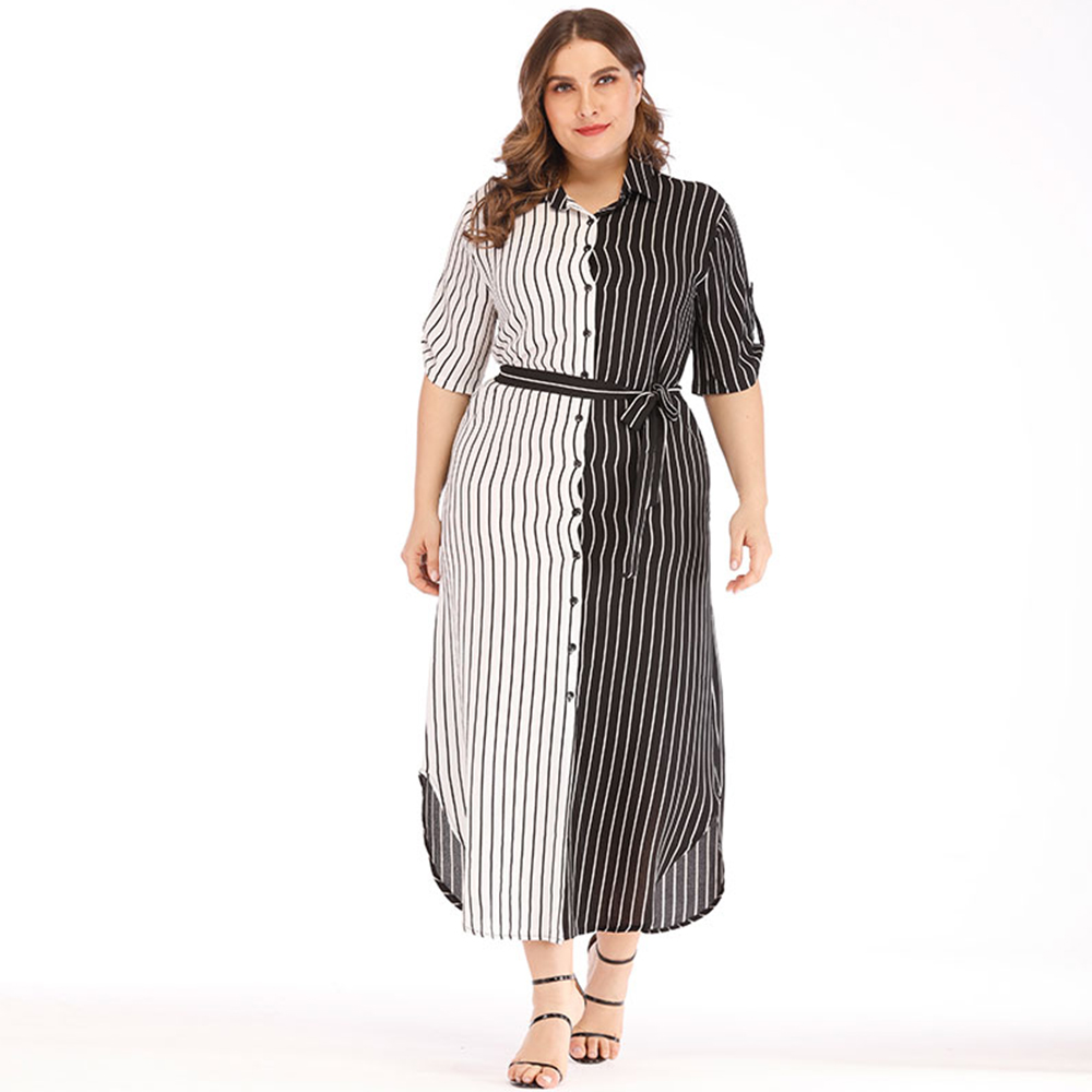 Woman Plus Size Maxi Dress Fashion Vintage Contract Color Striped Gown Ladies OL Turn down Collar Wear To Work with Sashes Cloth