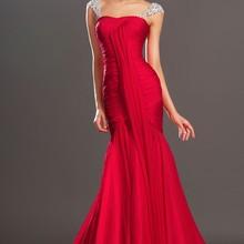 Очаровательная Встроенная красное шифоновое вечернее платье