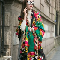 Quality Ethnic Style Wool Shawl Brand Fashion Long Cloak More Purpose Oversize Wool Scarf Ladies Winter Travel Decoration Shawl