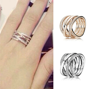 Silver Rose Gold Entwining Rings With Crystal For Women Wedding Party Gift Fine Europe Jewelry image