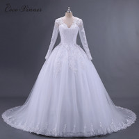 C V Vestido De Noiva Long Sleeve Wedding Dress 2017 Arab Princess Casamento Romantico Bridal Gowns