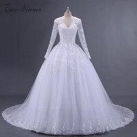 C.V Vestido De Noiva lange Mouwen Trouwjurk 2018 Arabische Prinses Casamento Romantico Bruidsjurk robe de mariage casament W0008