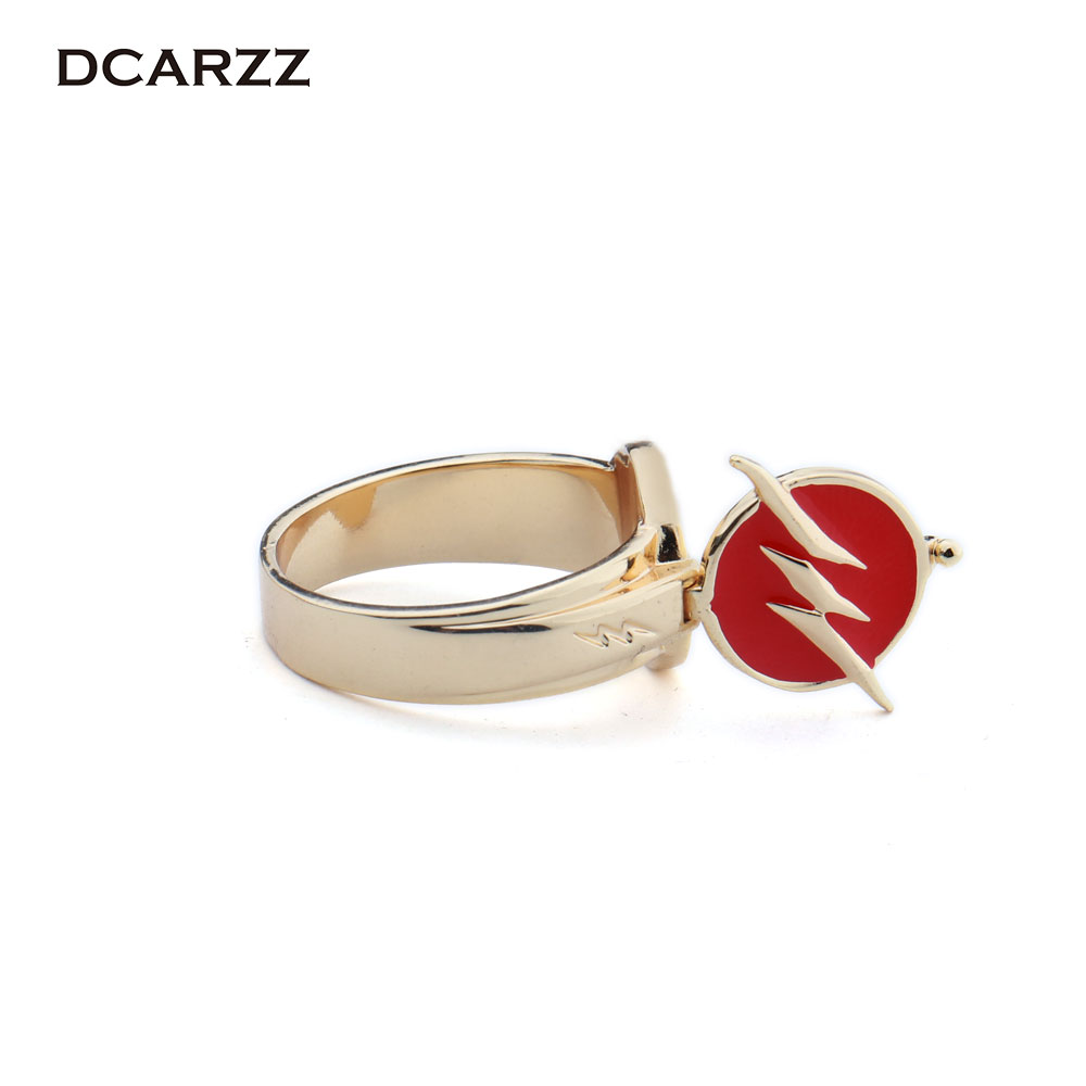 Justice League The Flash Ring Can be Opened Lightning Logo Superhero Movie Jewelry Prop Replica Flash