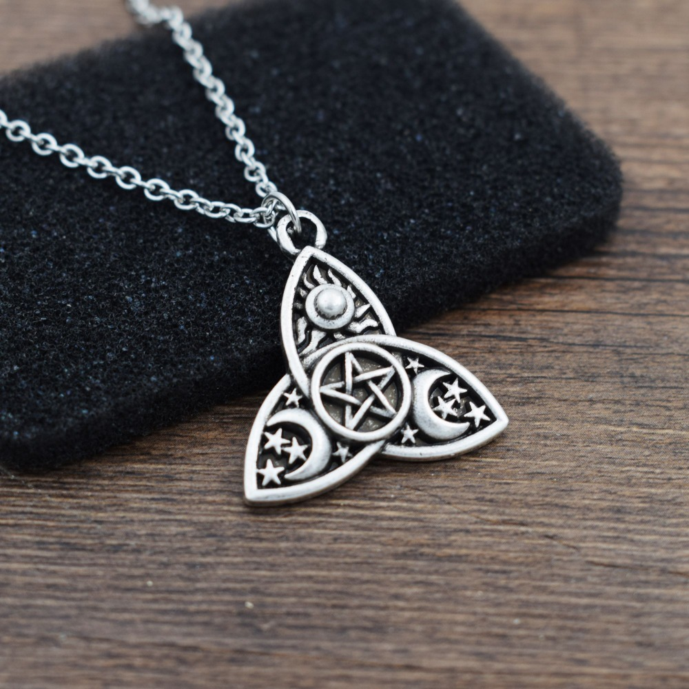 Triple Moon Goddess Triquetra Pentacle Necklace Pagan Wicca Pendant Necklace in Chain Necklaces from Jewelry Accessories