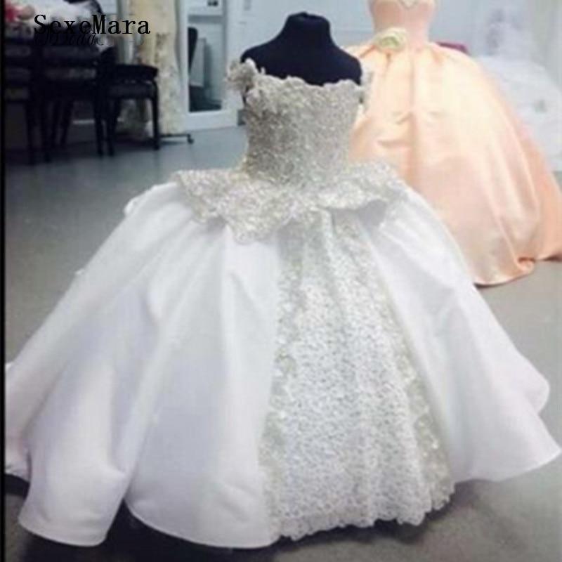 White Ivory High Quality   Flower     Girls     Dresses   Vestido Daminha De Honra Appliques Lace Pearls First Communion   Dresses   For   Girls