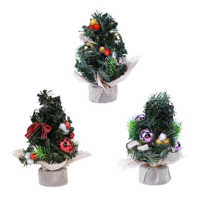 20cm Mini Christmas Tree Ornament Home Office Desk Table Decoration Gold Red Purple