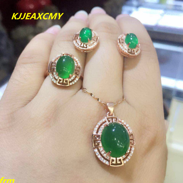 KJJEAXCMY Fine jewelry, 925 sterling silver inlaid Xinjiang Hetian jade green chalcedony ring pendant female models 3 sets 925 silver green yellow chalcedony agate pendant buckle female sweater chain large round jade pendant