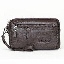 Men Leather Clutch Purse Wallet Wristlet Zipper Handbags Coi