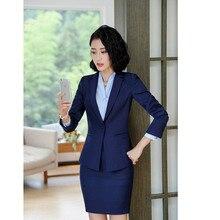 2f2cc12cd Las mujeres traje Formal traje elegante chaqueta + falda 2 unidades Oficina  traje uniforme diseños carrera