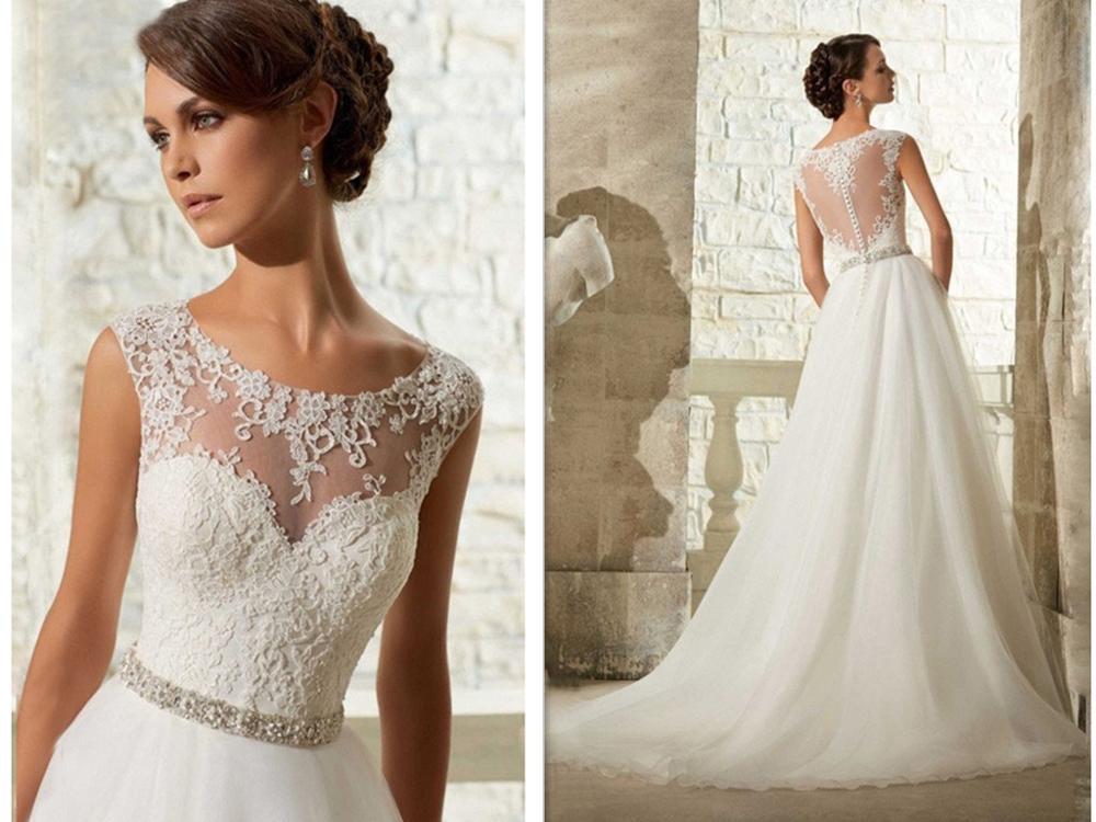 Cheap Wedding Dresses Lace: Vestido De Noiva Applique Ball Gown Lace Appliques Cheap