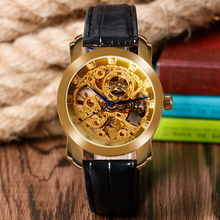WINNER Luxury Fashion Skeleton Mechanical Wrist Watch Gold Dial Black Leather Band Strap Automatic Self-Wind Men Women Watches