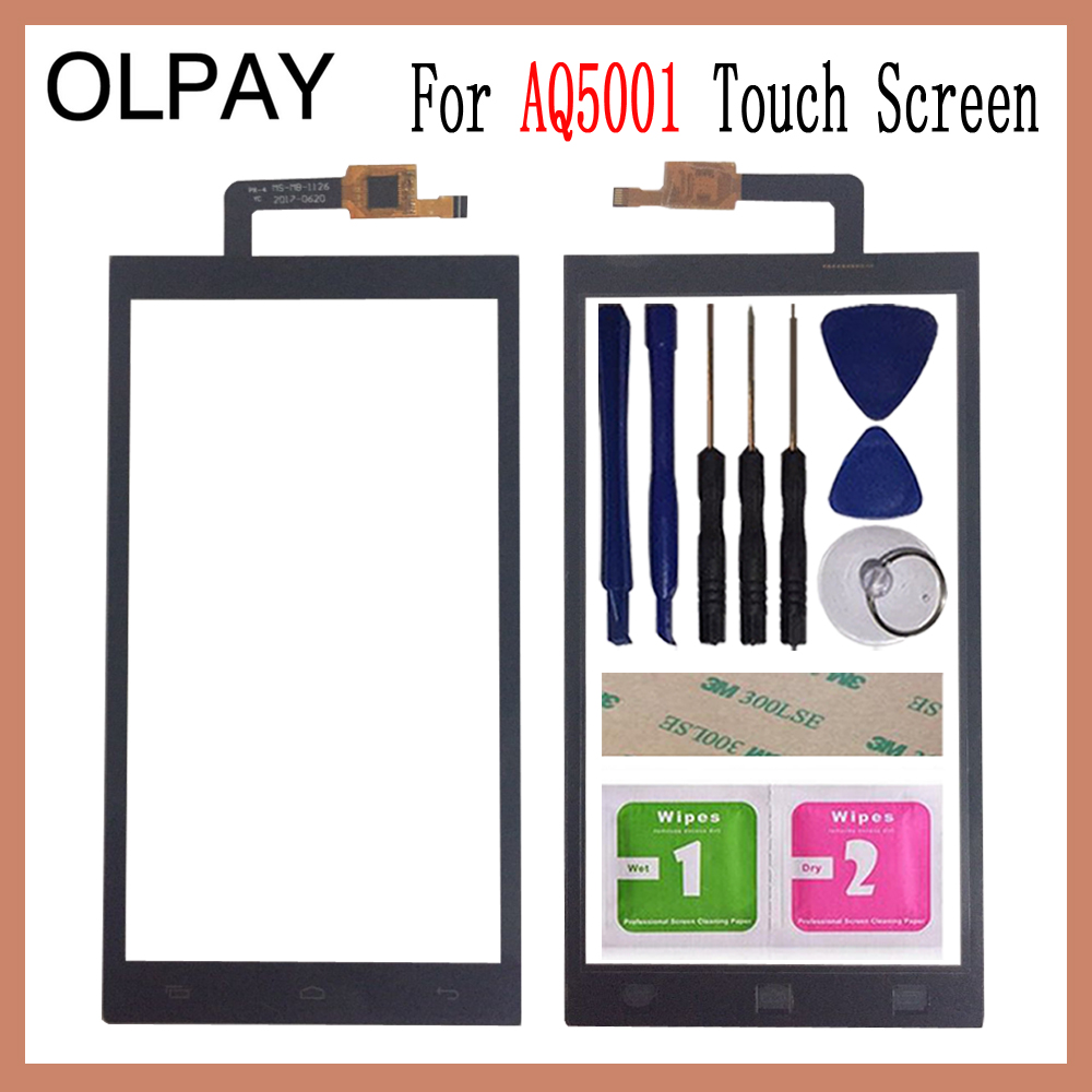 OLPAY 5.0'' Phone Front Glass For Micromax AQ5001 AQ 5001 Touch Screen Touch Digitizer Panel Glass Tools Free Adhesive+Wipes