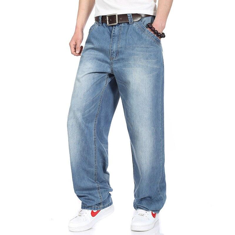 Men Light Blue Baggy Jeans Hiphop Mens Streetwear Skateboarder Denim Pants Loose Fit New 2017 Printing Hip Hop Plus Size 30- 46  hip hop jeans for men 2017 new fashion light blue baggy jeans skateboarder denim pants free shipping