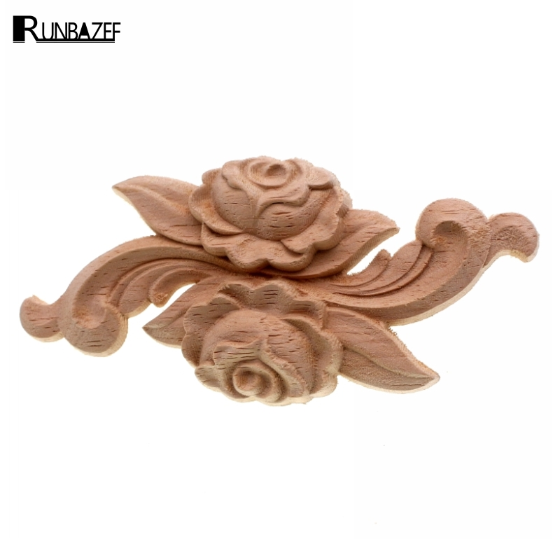 RUNBAZEF Practical Boutique Rubber Wood Carved Onlay Applique Unpainted Furniture For Home Door Cabinet Decoration Color
