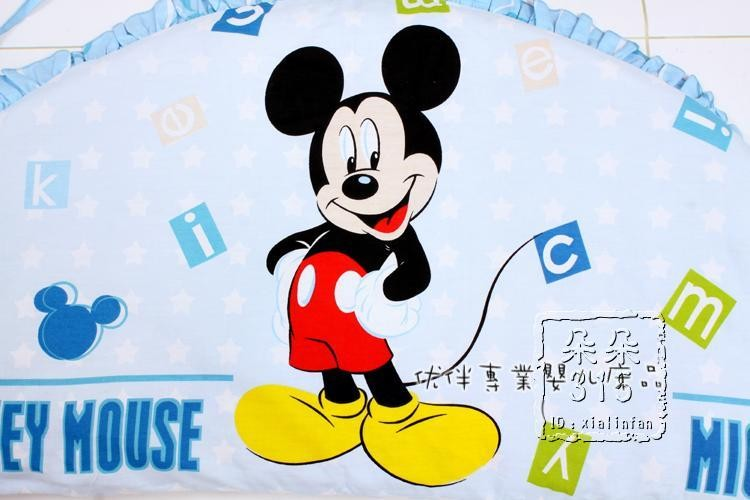 Promotion! 6pcs Cartoon baby cot bedding sets 100% cotton baby bed around ,include (bumpers+sheet+pillow cover)