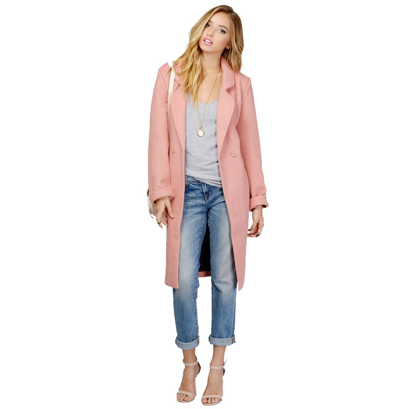 Autumn Winter New Fashion Pink Trench Coat Ladies Office Turn Down Collar Trench Coat For Women Windbreaker Coat Female CT111 (1)