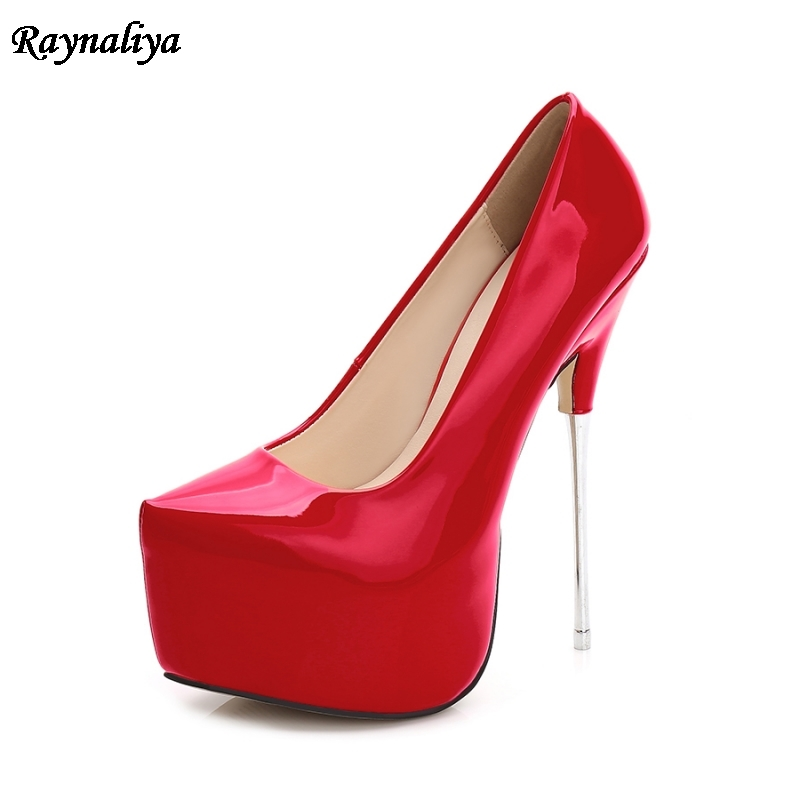 Women 16cm Extreme Sexy Patent Leather High Heels Big Size 35-44 Pumps Platform Heels Ladies Red Wedding Shoes MS-A0009 big size 43 platform pumps sexy ultra super high heels 20cm patent leather sexy shoes women s party pumps wedding shoes nn 94