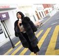 85 СМ Природный Реального Фокс Шуба Новый 2016 Зиму толстые Женщины Меховая Куртка Пальто Карманы Натурального Меха Для Женщин 10450