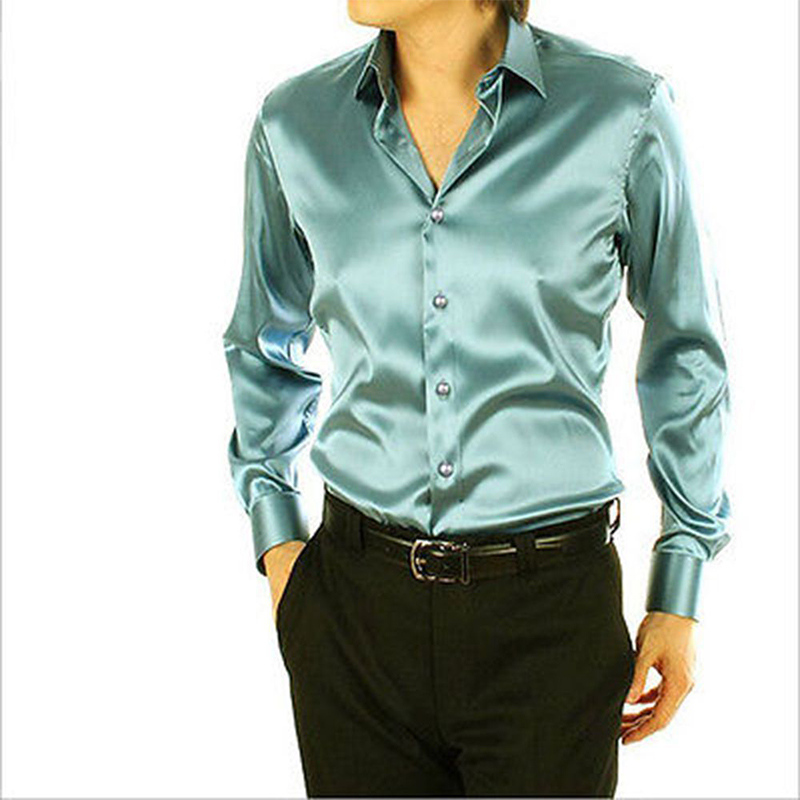 Green Leisure Clothing Wedding Prom Emulation Silk Long Sleeve Shirts Men's Casual Shirt Shiny Satin Formal Party Shirt