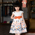 Girls Party Dress Kids Princess Children 2016 Summer Dress Cotton Bow A-line Floral Dresses Girls Kids 8 9 10 11 12 Years