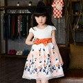 Vestido de Partido de las muchachas Niños de La Princesa Niños 2016 Vestido de Verano de Algodón Arco una línea de Vestidos de Flores Las Niñas Los Niños 8 9 10 11 12 Años