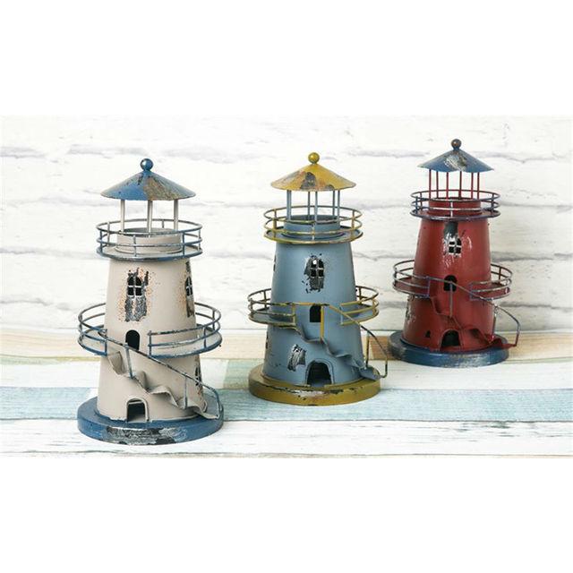 22cm Candle Holders Mediterranean Style Iron Creative Retro Lighthouse  Candlestick Home Decor Bar Decoration