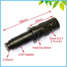 Big discount 180X C-Mount Lens Industrial Microscope Digital Camera Objective Lens 0.5X Adapter Working Distance 55mm-210mm