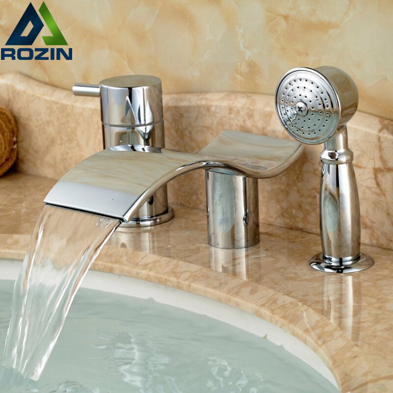 Polished Chrome Deck Mount Bathtub Faucet Set with Handheld Shower Widespread 3 Holes Tub Mixer Tap for tub sink deck mount chrome widespread 5 holes longer waterfall bathtub faucet with handheld bath shower tub filler