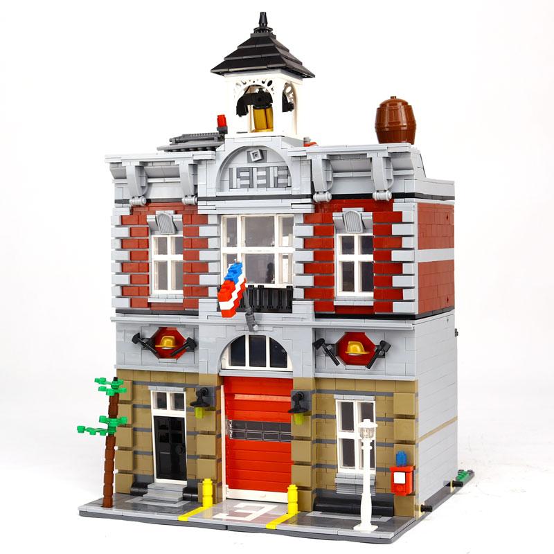 LEPIN 15004 2313 Stucke Stadtstrabe Creator Feuer Brigade Modellbau Kits Blocke Bricks Kompatibel 10197 kinder spielzeug mfi341s2313 2313 sop8