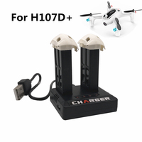 Saleaman 2pcs Hubsan X4 Cam Plus H107D+ H107D 3.7V 520mAh Lipo Battery for Hubsan with 2 in 1 USB External Battery Charger