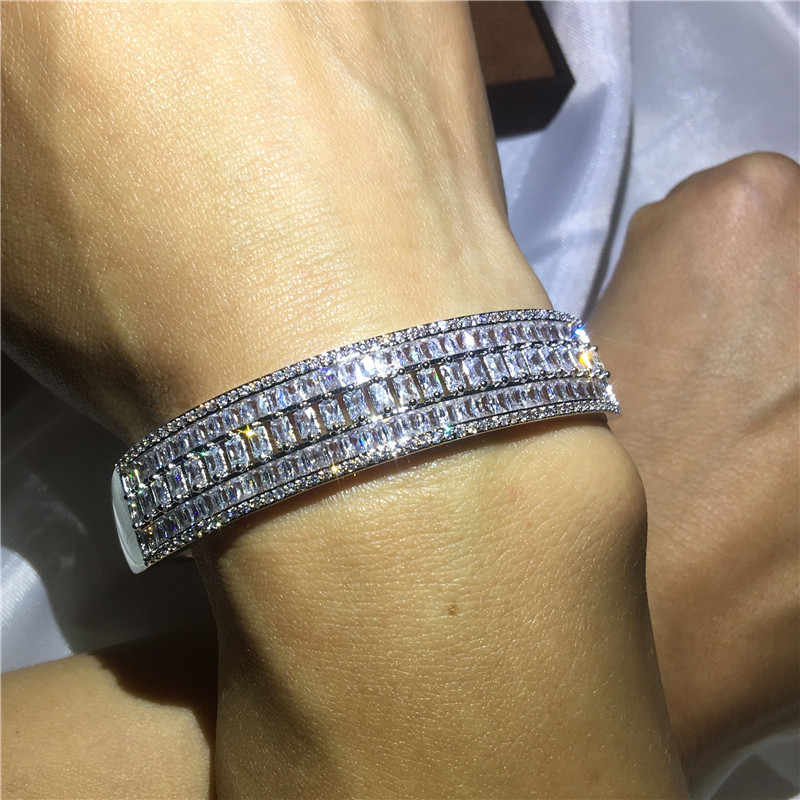 Romantic Lady Bangle Princess cut 5A cubic zirconia stone bracelet White Gold Filled Engagement wedding Bangles for women
