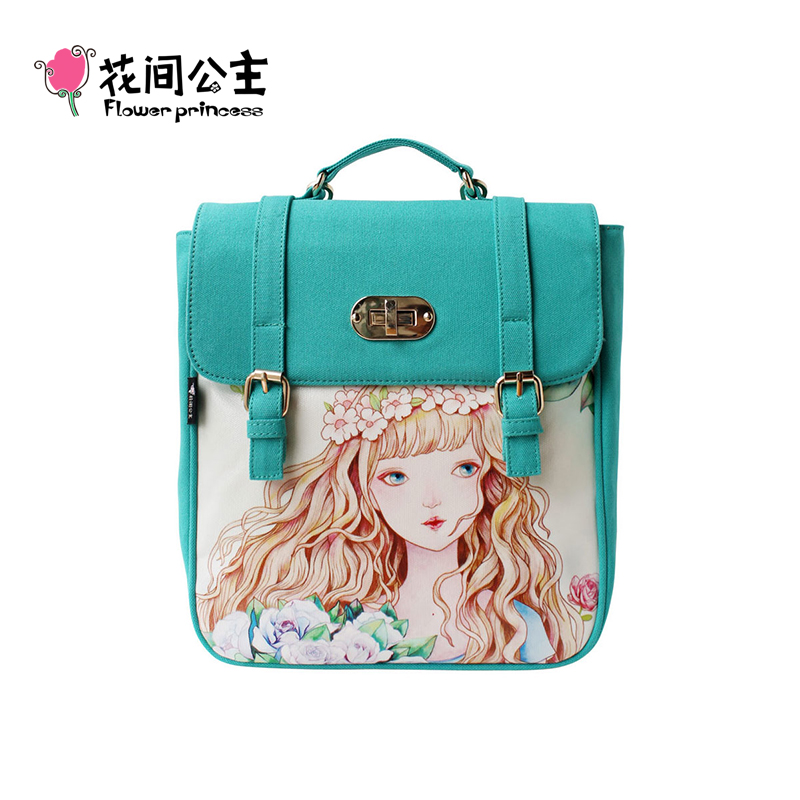 ФОТО Flower Princess 2017 Women Fashion Canvas Backpacks for Teenage Girl Knapsack School Bag mochila feminina Rucksack B001