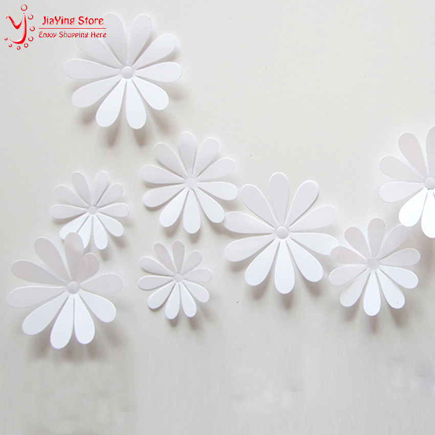 12Pcs Set PVC 3D Flower Wall Stickers Home Decor Living Room Modern Girl Wall Decals 8 Colors Home Decoration Accessories Y44 in Wall Stickers from Home Garden