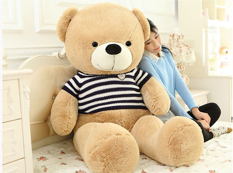 stuffed plush toy huge 160cm teddy bear plush toy blue stripes sweater bear soft doll hugging pillow, CDhristmas gift s2806 стоимость