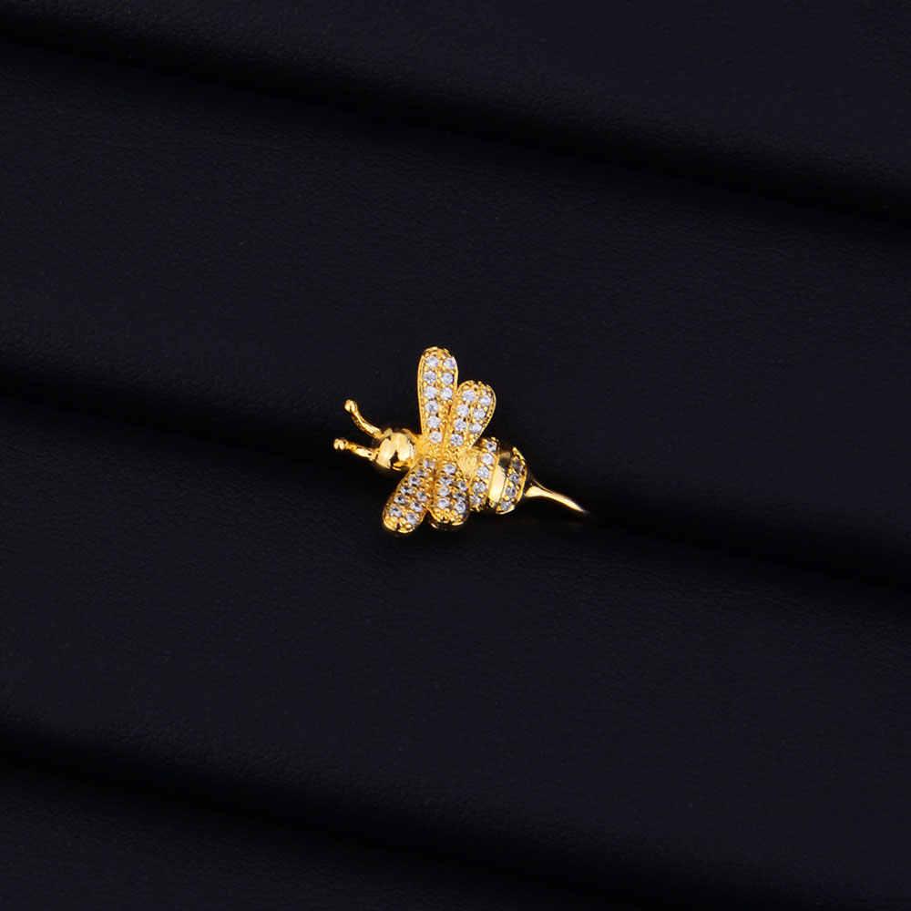 Godki Màu Vàng Ong Full Micro Đính Đá Cubic Zirconia Mở Đường Nữ Cô Dâu Đính Bông Tai Trang Sức Nghiện