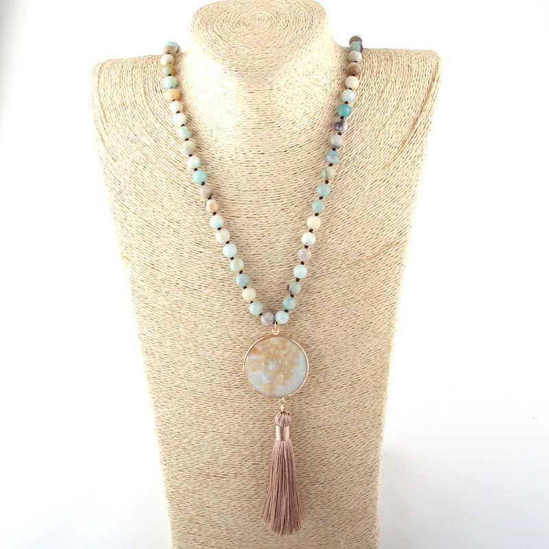 Модное богемное ювелирное изделие, полудрагоценные камни, Длинные узелки, подходящие каменные звенья, ожерелье с кисточкой для женщин, этническое ожерелье