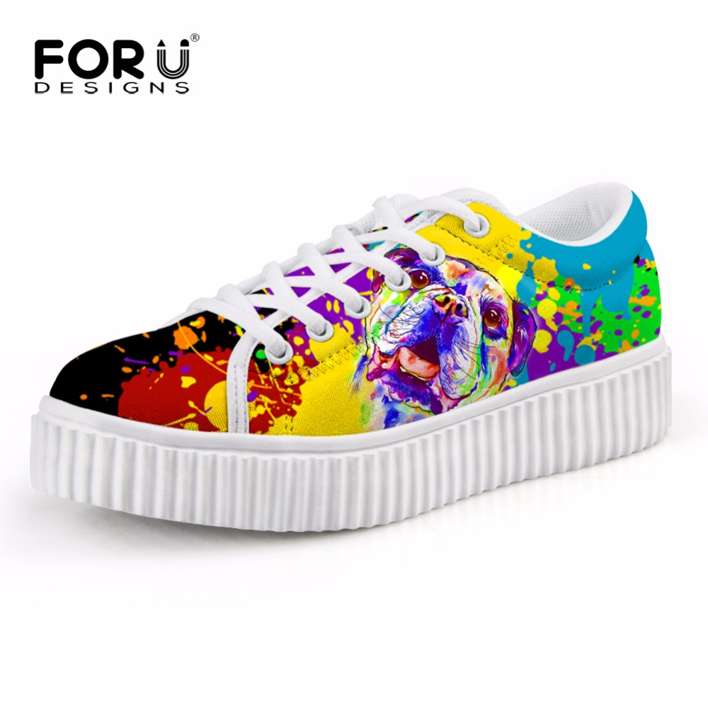FORUDESIGNS Colorful Animal Dog Print Female Casual Flats Shoes Autumn Women's Height Increasing Shoes Flat Platform Shoes Woman