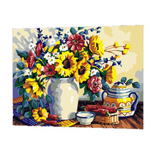 WONZOM Daisy Flower Vase Oil Painting By Numbers DIY Abstract Digital Picture Coloring On Canvas Unique Gift For Home