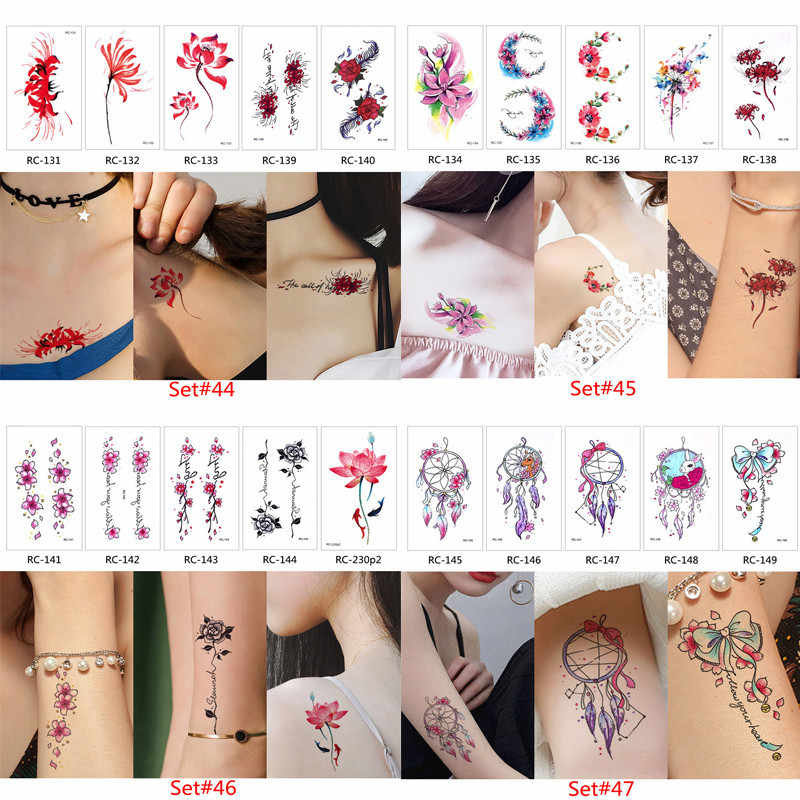 1aed0760ab407 ... Glaryyears 5 Sheets / Set Temporary Tattoo Sticker Fake Tatoo Flash  Tatto Waterproof Small Body Art ...